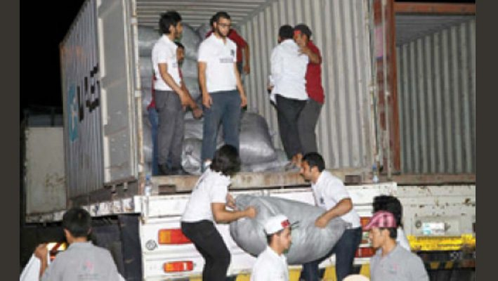 Qatar Charity sends 12 truckloads of aid for Syriansimage