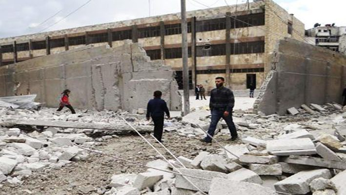 A school was bombed in Aleppo.image