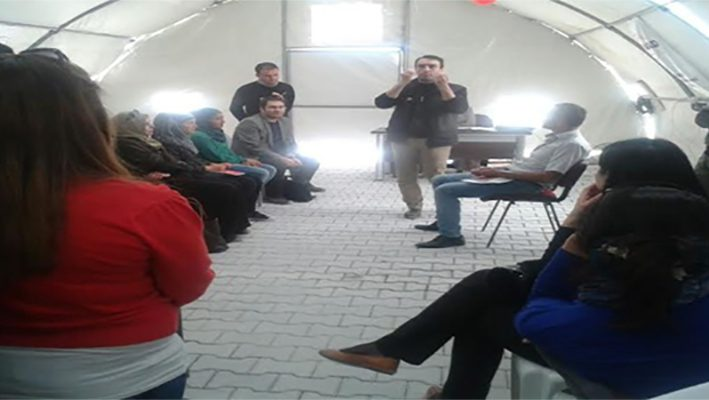 A training workshop for teachers in the Afad camp in Sroujimage