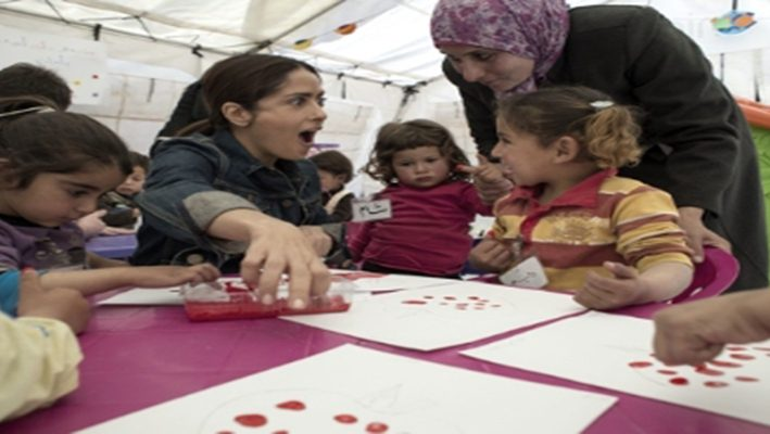 Salma Hayek Visits Lebanon with UNICEF to Raise Funds for Syrian Refugeesimage