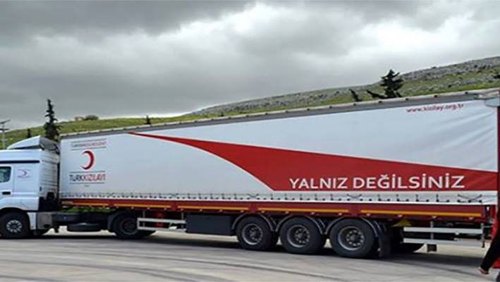 The Turkish Red Crescent Offers 7 Aid Trucks For Syrian Refugees Arriving From Idlibimage