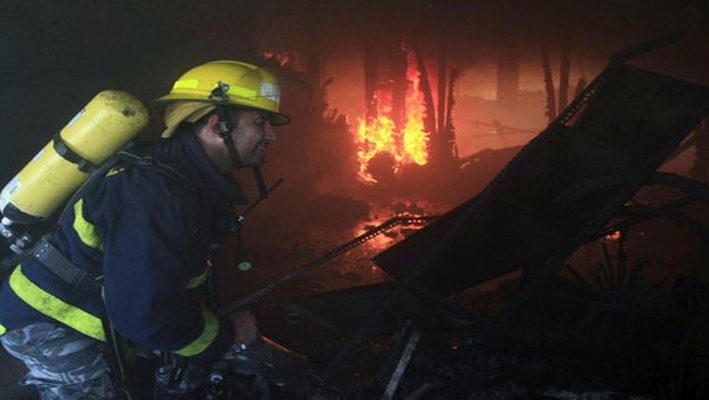 Three Syrian refugee girls suffered from a fire in Lebanonimage