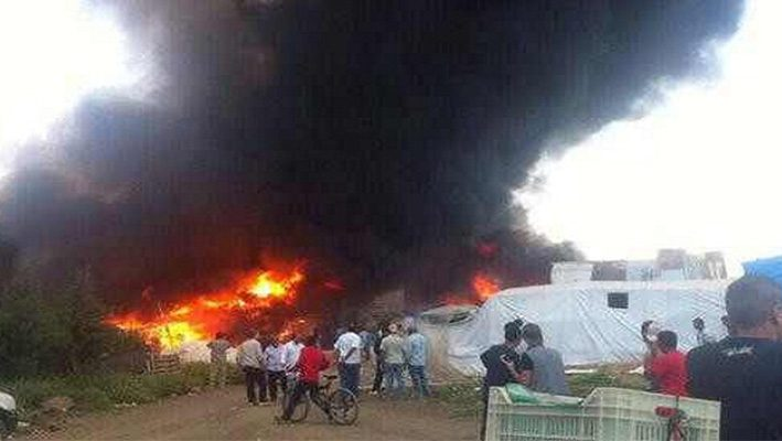 A massive fire in Al-Marj camp for the Syrians displaced in Lebanonimage