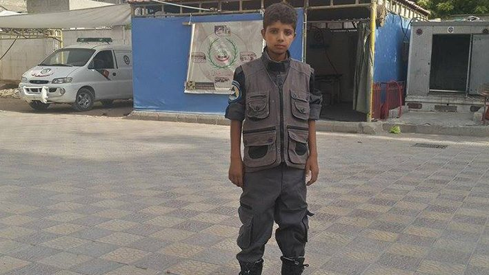 """Mohammed Zahra"" smaller volunteer in ""civil defense"" in Douma and father and mother of 6 childrenimage"